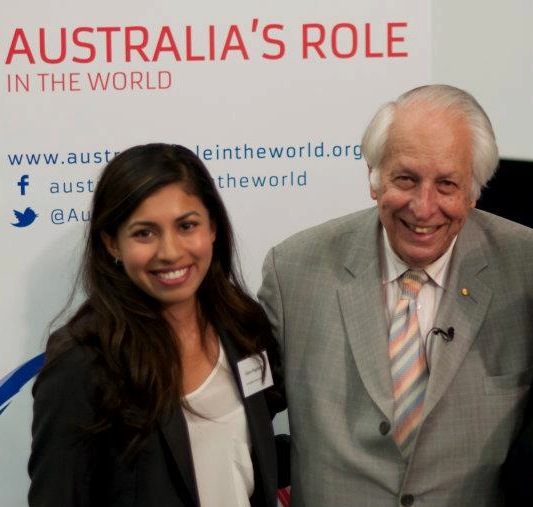 Intern interviewing Sir Gus Nossal for the launch of the Australia's Role in the World website